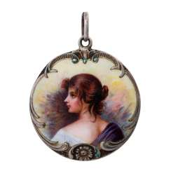 Youth style pendants with an elegant woman portrait,