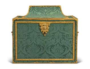 A FRENCH ORMOLU-MOUNTED GREEN-DAMASK CASKET