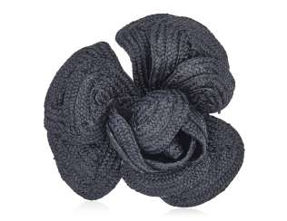 UNSIGNED CHANEL BLACK RAFFIA CAMELLIA BROOCH