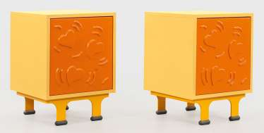 Couple of Design bedside cabinets with Keith Haring pattern