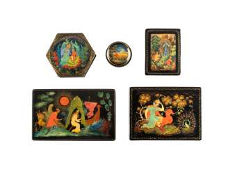 FIVE LACQUER BOXES WITH FAIRY TALE MOTIFS