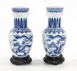 Pair of vases with 5 clawed cloud dragons