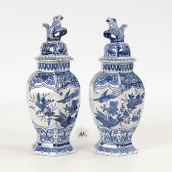 Pair of faience lid vases, DELFT