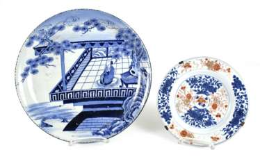 Porcelain plate with blue-and-white figure decor, and an Imari dish