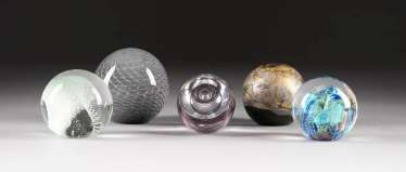 COLLECTION OF FIVE PAPERWEIGHTS. In various embodiments, Sweden, and England, among others, 1980s/1990s
