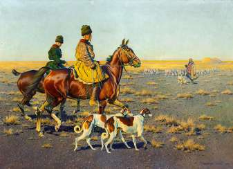 Cossack riders with their hunting dogs