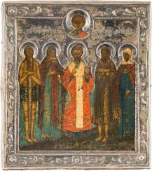 A SMALL ICON WITH THE FIVE PATRON-SAINTS WITH SILVER BASMA