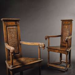 Rare Pair of Renaissance armchairs, so-called Caquetoire, Loire Region, France, 2. Half of the 16th century. Century
