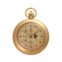 COMOR pocket watch with calendar and moon phase. Gold Plated Case.