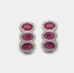 Pair of very fine ruby earrings