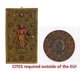 Rare panel with a standing Padmapani and wooden plate with Buddhist representations