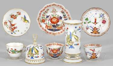 Group of Meissen porcelain with Asian motifs