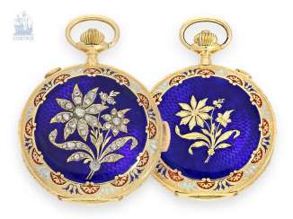 Pocket watch: unusual Gold/enamel-Savonnette with a rich diamond trim, minute Repetition and Chronograph, Invicta Swiss for the Indian market, around 1900