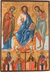 SIGNED, AND LARGE-FORMAT TWO FIELDS ICON WITH DEESIS AND SELECTED SAINTS