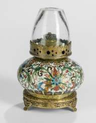 Cloisonne opium lamp with glass top and European mount