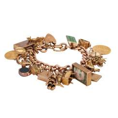 Exceptional charm bracelet, yellow gold 8K,