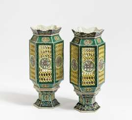Pair of hexagonal lanterns with sockets