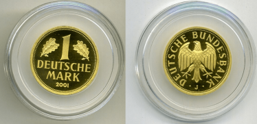 Germany 1 MARK 2001 J KM 203 gold