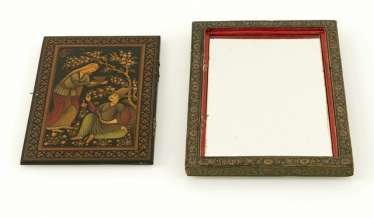 Two tiles with calligraphy or a figural scene, mirror box and lidded box with lacquer