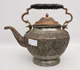 TEAPOT LARGE, engraved brass/wood,, North Africa 1. Half of the 20. Century
