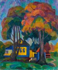 SCHALIKO IVANOWITSCH MAJSURADZE 1922 Moscow - 1998 ibid 'Landscape with a Garden House' Oil on canvas. 60 cm x 50 cm. Signed 'Majsuradze' in Cyrillic lower left