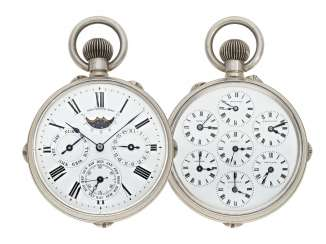 Pocket watch: extremely rare, early double-page world clock with full calendar, moon phase and moon age, Switzerland, around 1890