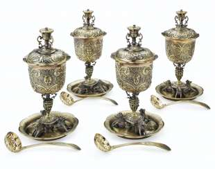 A SET OF FOUR WILLIAM IV SILVER-GILT SUGAR BOWLS, COVERS AND SUGAR SIFTERS