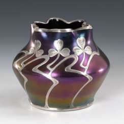 Art Nouveau Vase with silver overlay.
