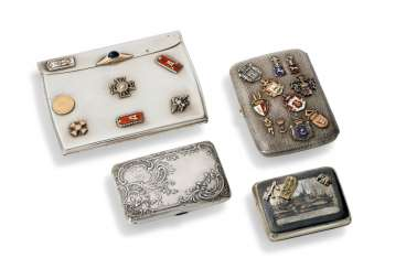 FOUR NIELLO AND ENAMEL SILVER CIGARETTE CASES