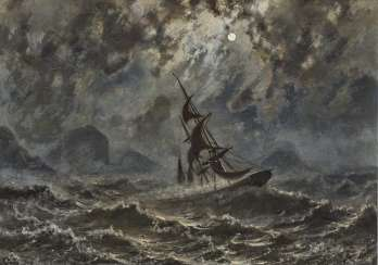 Sailboat on stormy seas under a full moon
