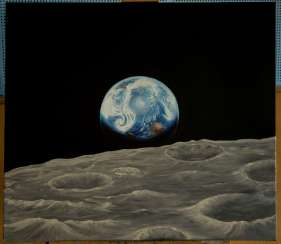 Earth rise over the Moon. Space. Universe.
