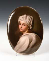 Porcelain painting: girl portrait, antique KPM Berlin.