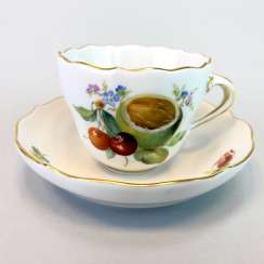 Mocha Cup: Meissen Porcelain. Decorative fruit and fruit painting. The gold edge. very good.