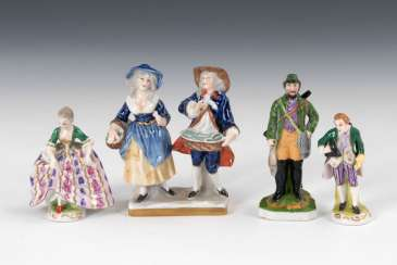 2 miniature Rococo figures, hunters, and Kin