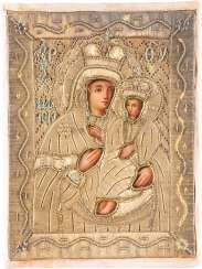 SMALL ICON OF THE MOTHER OF GOD IWERSKAJA WITH STICK-OKLAD