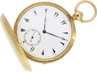 Pocket watch: extremely rare 18K gold savonnette with 8-day movement, England for the Ottoman market, L. Gaebert London No. 1424, Hallmarks 1857