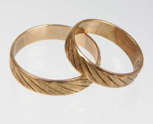 Pair Of Wedding Rings - Yellow Gold 333