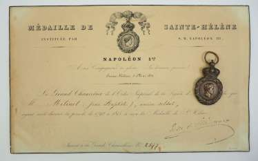 France : Saint Helena medal with document for a veteran.