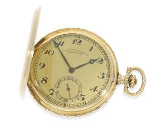 Pocket watch: almost mint-preserved A. Lange & Söhne gold savonnette from the Art Deco period, No. 55130