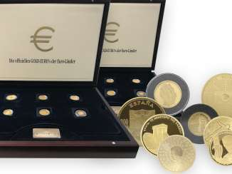 Coins: valuable set of 2 x 12 gold euro coins from the euro countries, as new in high quality wooden boxes with all certificates, a total of 234.59g fine gold!