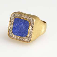 Men's ring with Lapis and diamonds