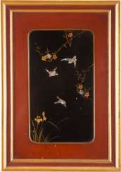 PAIR OF LACQUER PANELS WITH BIRD DECOR