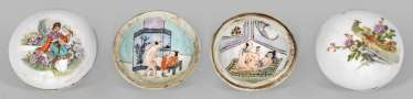 Three small Porcelain jars with erotic pictures