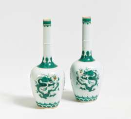 Pair of long neck vases with dragons
