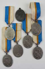 Bavaria: Lot of 6 commemorative medals for the Golden wedding on 20. February, 1918.
