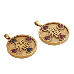 2 pendant with the Chinese character for happiness