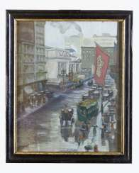 American artist around 1900, fifth Avenue, watercolour on paper, signed framed