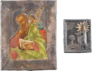 TWO ICONS WITH SILVER-OKLADurchmesser: monk, Saint AND JOHN, the THEOLOGIAN IN SILENCE