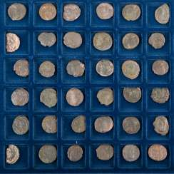 Roman late antiquity - Tableau with 48 small coins/Nummi, the