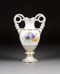 ORNATE SNAKE HANDLE VASE WITH FRUIT PAINTING